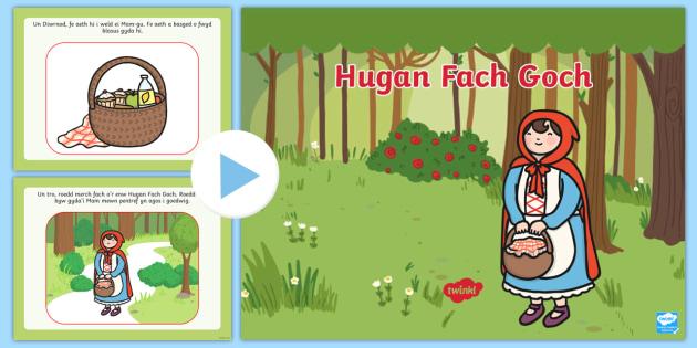 Pŵerbwynt Stori Yr Hugan Fach Goch - Adnoddau Ysgrifennu Cymraeg,Welsh, little red riding hood.