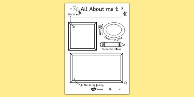 All About Me Colouring and Drawing Worksheet - ourselves, colour