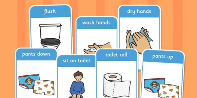 Toilet Procedure Flash Cards - toilet, procedure, flashcards