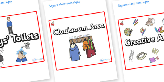 Cherry Themed Editable Square Classroom Area Signs (Plain) - Themed Classroom Area Signs, KS1, Banner, Foundation Stage Area Signs, Classroom labels, Area labels, Area Signs, Classroom Areas, Poster, Display, Areas