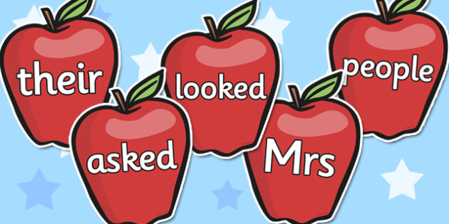 Phase 5 Tricky Words on Red Apples - phase 5, tricky words, red apples