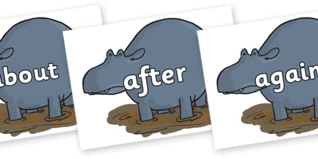 KS1 Keywords on Humpy Rumpy Hippopotamus to Support Teaching on The Enormous Crocodile - KS1, CLL, Communication language and literacy, Display, Key words, high frequency words, foundation stage literacy, DfES Letters and Sounds, Letters and Sounds,