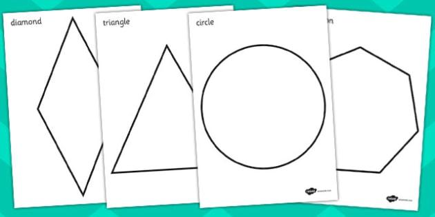 A4 2D Shape Coluring Posters - A4 2D shapes, colouring posters, 2D shape posters, 2D shape colouring posters, 2D shapes