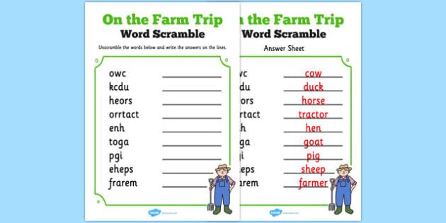 Farm Trip Word Unscramble - farm trip, word, unscramble, farm