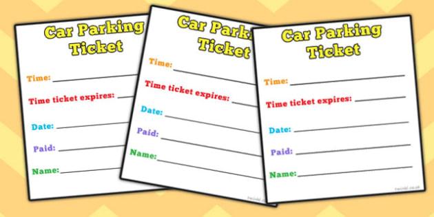 Car Parking Ticket - role-play, parking, car, ticket, parking ticket