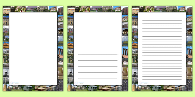 Houses and Homes Photo Page Borders - houses and homes, houses, homes, photo page borders, page borders, writing frames, writing guide, line page, line guide