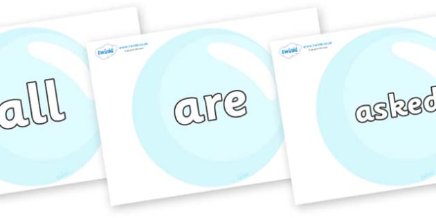 Tricky Words on Bubbles - Tricky words, DfES Letters and Sounds, Letters and sounds, display, words