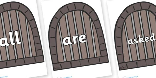 Tricky Words on Jail Cells - Tricky words, DfES Letters and Sounds, Letters and sounds, display, words