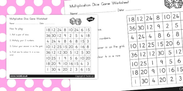 Multiplication Dice Game Worksheet - australia, multiplication