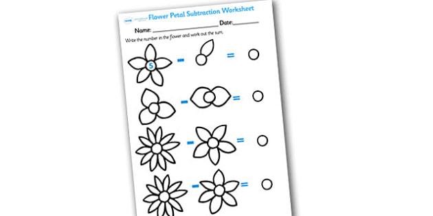Numbers on Flowers Subtraction Worksheet - flower subtraction, flower subtraction worksheet, flower petal subtraction worksheet, flower numeracy, flowers