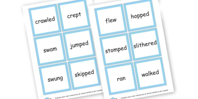 Verb Cards - Verb Primary Resources, verbs, noun, adjective, wow, keywords