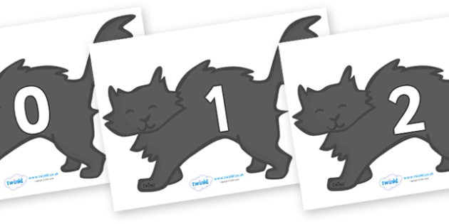 Numbers 0-50 on Black Cats - 0-50, foundation stage numeracy, Number recognition, Number flashcards, counting, number frieze, Display numbers, number posters