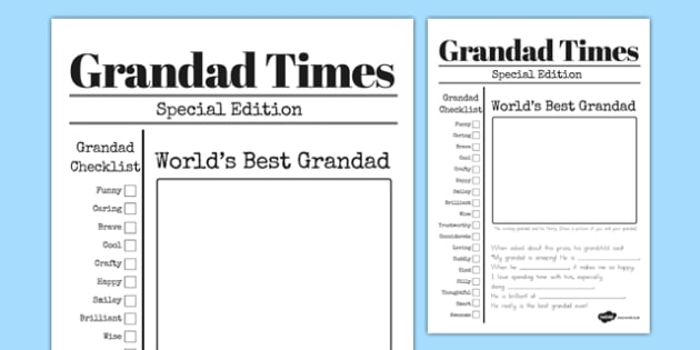 Grandfather Newspaper Card Template - australia, grandfather