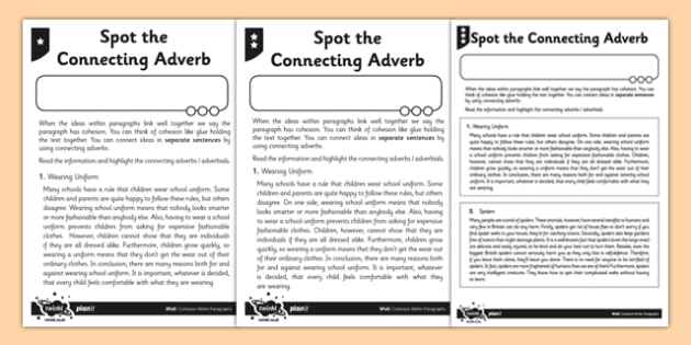 Spot the Connecting Adverb Differentiated Activity Sheet Pack - spag, english, planit, connecting, adverb, worksheet