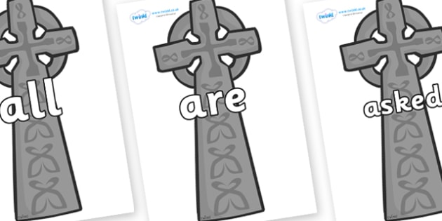 Tricky Words on Celtic Cross - Tricky words, DfES Letters and Sounds, Letters and sounds, display, words