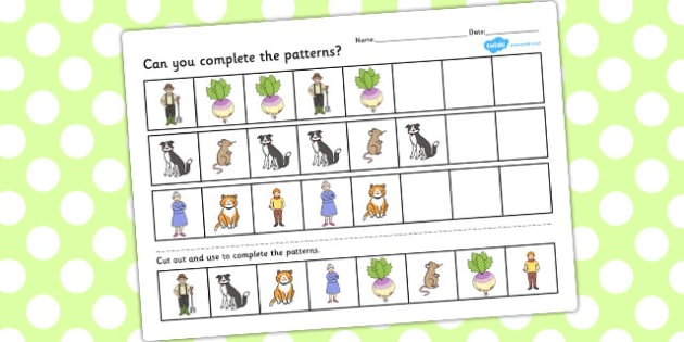 The Enormous Turnip Complete the Pattern Worksheets - pattern