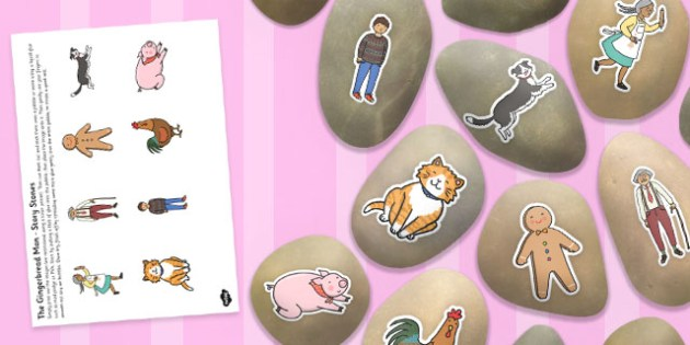 The Gingerbread Man Story Stone Image Cut-Outs - story stone, cut outs