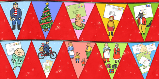 Bunting to Support Teaching on The Jolly Christmas Postman - the jolly christmas postman, bunting, the jolly postman bunting, jollly christmas postman bunting