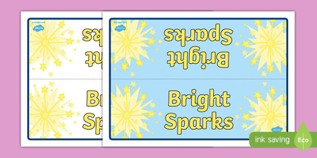 Bright Sparks Group Table Signs - Group, Table, Signs, Sparks