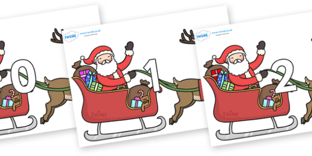 Numbers 0-100 on Santa on Sleigh - 0-100, foundation stage numeracy, Number recognition, Number flashcards, counting, number frieze, Display numbers, number posters