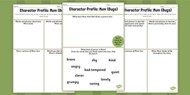 Character Profile Mum Dugs Worksheet to Support Teaching on Ug - ug, mum, worksheet