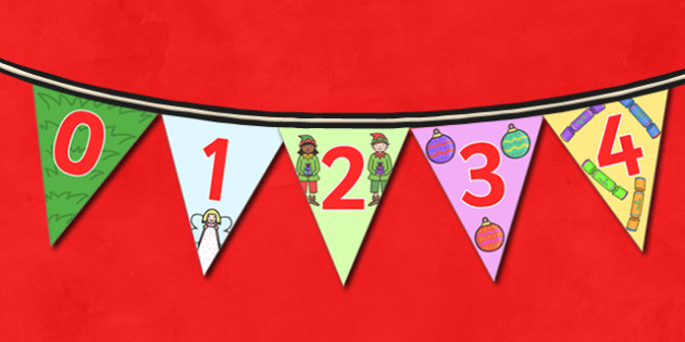Christmas Number Bunting - christmas, xmas, bunting, christmas bunting, numbers, numbers on bunting, 1-9 on bunting, counting, counting aid, christmas themed bunting, decorating, decorations, christmas decorations, classroom decorations