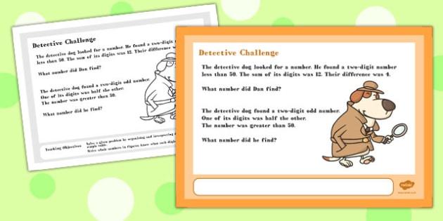 A4 Detective Maths Challenge Poster - maths challenge, poster