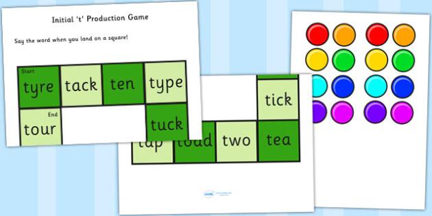 t and Vowel Production Game - t, vowel, sounds, sound production