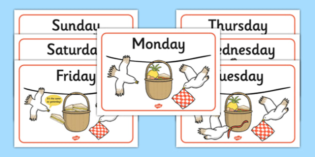 Days of the Week Posters to Support Teaching on The Lighthouse Keeper's Lunch - the lighthouse keepers lunch, days of the week, posters