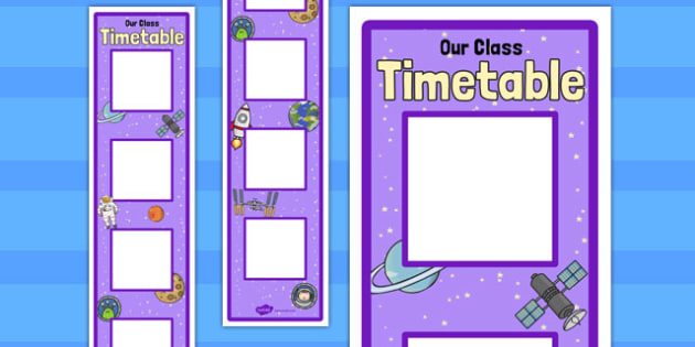 Space Themed Vertical Visual Timetable Display - display, timetable