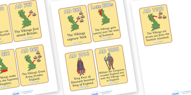 Viking Timeline Cards - Vikings, England, history, timeline, cards, word card, flashcards, longboat, Scandinavian, explorers, Viking Age, longship, Norse, Norway, Wessex, Danelaw, York, thatched house, shield