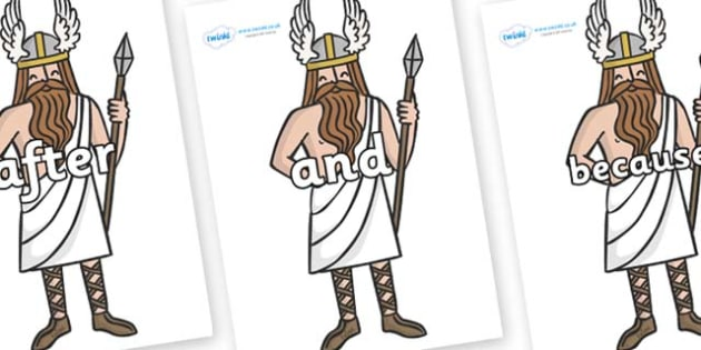 Connectives on Viking Gods - Connectives, VCOP, connective resources, connectives display words, connective displays