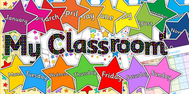Multicoloured Stars Co-ordinating Classroom Display Pack - pack