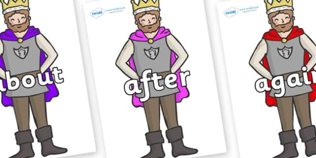 KS1 Keywords on Kings - KS1, CLL, Communication language and literacy, Display, Key words, high frequency words, foundation stage literacy, DfES Letters and Sounds, Letters and Sounds, spelling