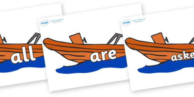 Tricky Words on Lifeboats - Tricky words, DfES Letters and Sounds, Letters and sounds, display, words