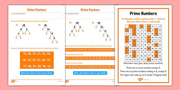 Prime Factors Activity Sheet Pack - Key Stage 2, Prime Factors, Prime Numbers, maths, worksheet