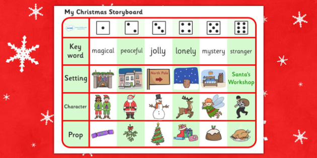 Christmas Story Writing Activity - christmas, xmas, santa, christmas story, story, Jesus, writing activity, keyword, setting, character, prop, storyboard, creative, christmas meal, crackers, bells, toys, presents, reindeer, sleigh, baubles, tree ligh
