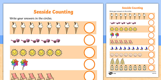 Seaside Counting Activity Sheet - Counting worksheet, Seaside, counting, activity, how many, foundation numeracy, counting on, counting back, holidays, water, tide, waves, sand, beach, sea, sun, holiday, coast