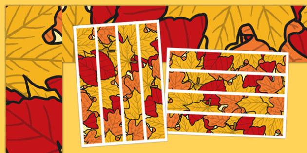 Fall Display Borders - Display border, classroom border, border, fall, seasons, A4, display, fall pictures, fall display, leaves, acorn, conker