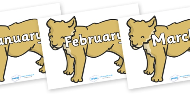 Months of the Year on Puppy - Months of the Year, Months poster, Months display, display, poster, frieze, Months, month, January, February, March, April, May, June, July, August, September