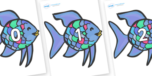 Numbers 0-100 on Rainbow Fish to Support Teaching on The Rainbow Fish - 0-100, foundation stage numeracy, Number recognition, Number flashcards, counting, number frieze, Display numbers, number posters