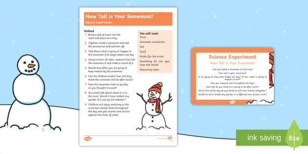 How Tall is Your Snowman Science Experiment - how tall, snowman, science experiment, science, experiment