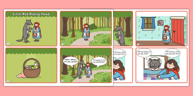 Little Red Riding Hood Story Sequencing (4 per A4 with Speech Bubbles ...