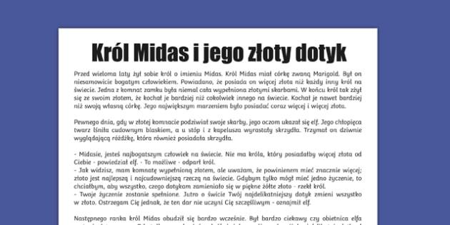 Legenda Król Midas i jego złoty dotyk po polsku