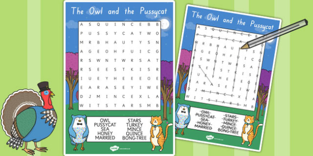 The Owl and The Pussycat Wordsearch - stories, word games, books