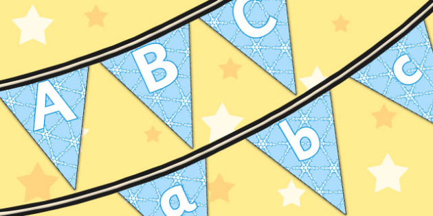 A-Z On Winter Bunting - winter, bunting, alphabet, a, z, display