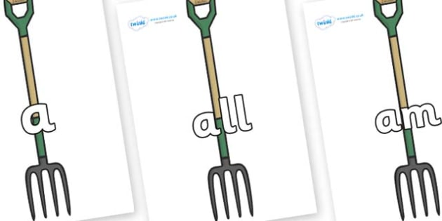 Foundation Stage 2 Keywords on Garden Forks - FS2, CLL, keywords, Communication language and literacy,  Display, Key words, high frequency words, foundation stage literacy, DfES Letters and Sounds, Letters and Sounds, spelling