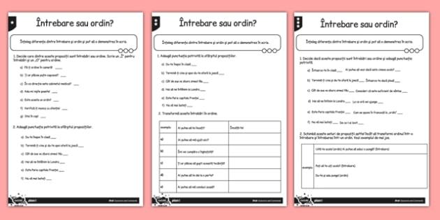 Întrebare sau ordin, Fișă diferențiată pe nivele de dificultate, worksheet