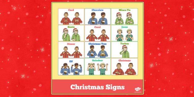 British Sign Language Christmas Signs - christmas, sign language