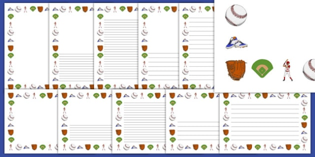 Baseball Writing Borders Pack - usa, mlb, baseball, major league baseball, writing borders, pack, writing, borders